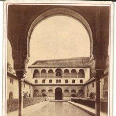 Fotografía antigua: JEAN LAURENT 1108 GRANADA. VISTA GENERAL DEL PATIO ARRAYANES DERECHA. ALHAMBRA CARTE CABINET. Lote 115920915