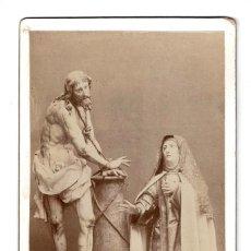Fotografía antigua: FOTOGRAFIA CABINET ALBÚMINA DE APARICIÓN DE NUESTRO SEÑOR ATADO A LA COLUMNA A SANTA TERESA DE JESÚS. Lote 116387535