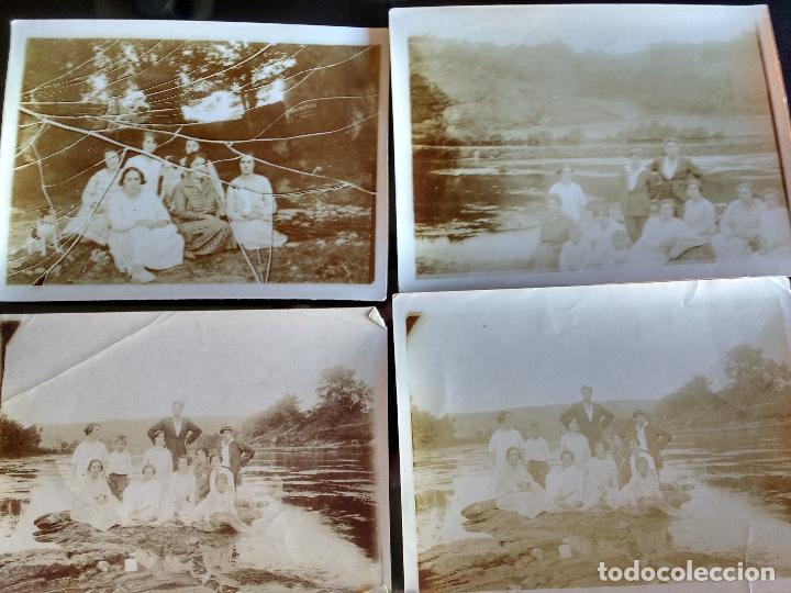 CUATRO ANTIGUAS FOTOGRAFIAS FAMILIA VILLA SAN JUAN DE NADELA LUGO, RIO MIÑO, MOLINO GARULAS AÑO 1926 (Fotografía Antigua - Albúmina)