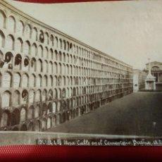 Fotografía antigua: ALBÚMINA Nº 445 UNA CALLE EN EL CEMENTERIO BARCELONA. ESPLUGAS. . Lote 116546539