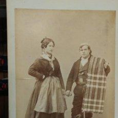 Fotografía antigua: FOTOGRAFÍA ALBÚMINA LAURENT NUM 1928 GUADALAJARA PAYSAN ET PAYSANE TIPOS. Lote 116550539