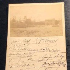 Fotografía antigua: ASOCIACION GENERAL FERROCARRILES DE ESPAÑA FIRMAS ALMUERZO 1886 MENU REPULLES Y VARGAS URQUIJO 16,5. Lote 121010019