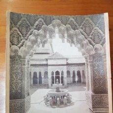 Fotografía antigua: ANTIGUA FOTOGRAFIA ALBUMINA PATIO DE LOS LEONES LA ALHAMBRA GRANADA SEÑAN Y GONZALEZ. Lote 121383295