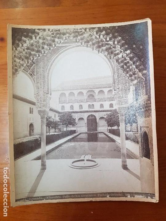 ANTIGUA FOTOGRAFIA ALBUMINA PATIO DE LOS ARRAYANES LA ALHAMBRA GRANADA SEÑAN Y GONZALEZ (Fotografía Antigua - Albúmina)