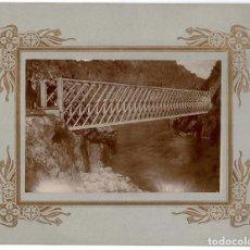 Fotografía antigua: LA CORUÑA.1883.FERROCARRIL ASTURIAS,GALÍCIA Y LEÓN. PRIMERA APLICACIÓN ESPAÑA VIGA RECTA DE GRAN LUZ. Lote 121978115