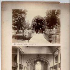 Fotografía antigua: ALBÚMINA CEMENTERIO DE LA AVENIDA CLIFTON CHURCHYARD Y INTERIOR DE LA IGLESIA CLIFTON PARISH. Lote 122094375