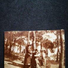 Fotografía antigua: FOTO RECORTADA ANTIGUA TRES DAMAS Y CABALLERO POSANDO EN BOSQUE DE PINOS 8,5X7,2 CM. Lote 123037032
