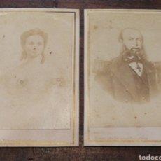 Fotografía antigua: ALBUMINA FOTOGRAFÍA UNIVERSAL BARCELONA- OFICIAL MILITAR Y MUJER- S.XIX. (DESCONOCIDO)- 10'5X6'5CM.. Lote 123794752