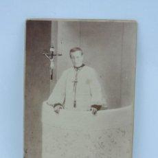 Fotografía antigua: FOTOGRAFIA ALBUMINA DE RELIGIOSO, SACERDOTE, FOTO VDA. DE OLIVAN Y HNO, SALAMANCA, AÑO 1908, MIDE 16. Lote 124397647
