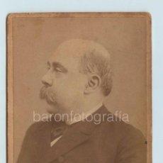 Fotografía antigua: EMILIO CASTELAR (1832-1899) POLÍTICO Y ESCRITOR ESPAÑOL, FOTO: FERNANDO DEBAS, MADRID, CABINET 11X16. Lote 127789751