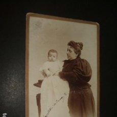 Fotografía antigua: MADRID RETRATO DE MADRE CON NIÑO COMPAÑY FOTOGRAFO HACIA 1895. Lote 128162303