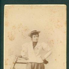 Fotografía antigua: CHICA Y BICICLETA FOTO ESPLUGAS C.1870 FRANCO HISPANO AMERICANO. Lote 128179127