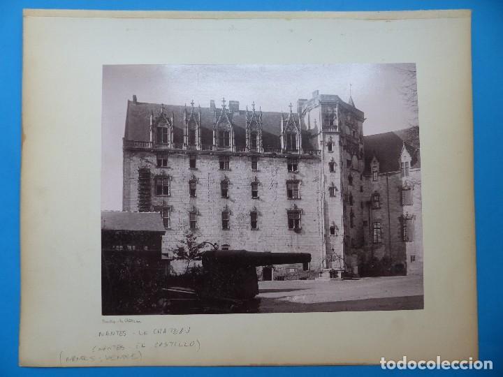 NANTES, FALAISE, ILLE ET VILAINE, FRANCIA - CASTILLO E IGLESIA - AÑOS 1900-1910 (Fotografía Antigua - Albúmina)