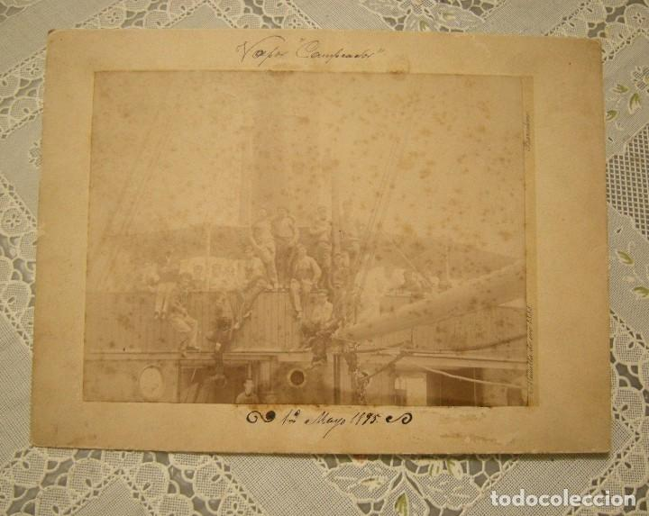 ALBUMINA VAPOR CAMPEADOR. 12 DE MAYO 1895. PEGADA EN SOPORTE DE A Y E F DITS NAPOLEON. (Fotografía Antigua - Albúmina)
