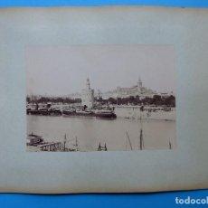 Fotografía antigua: SEVILLA - DOS VISTAS EN CARTON A DOS CARAS - AÑOS 1880-1890. Lote 128975287