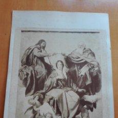 Fotografía antigua: LA CORONACIÓN DE LA VIRGEN, VELAZQUEZ. ALBUMINA DE 52X39 CM. M. MORENO FOTOGRAFO, MADRID CA. 1890. Lote 129598043
