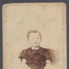 Fotografía antigua: FOTOGRAFIA NIÑO. FOTO SAVOYE SHAPUIS MONS. SOBRE 1870 - ALBUMINA-2550. Lote 130677209