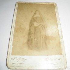 Fotografía antigua: MAGNIFICA FOTOGRAFIA DEL SIGLO XIX,DE UNA MONJA,FOTOGRAFO R.GALLEGO,CASTELLON. Lote 131368326