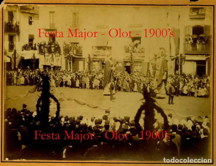OLOT - GEGANTS - FESTA MAJOR - 1900 (Fotografía Antigua - Albúmina)