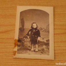 Fotografía antigua: ANTIGUA FOTOGRAFIA (7 DE MARZO DE 1879) - FOTO DE UN NIÑO ( MIGUEL MOLES Y FERRER) - 10,1X5,9 CM. Lote 132184926