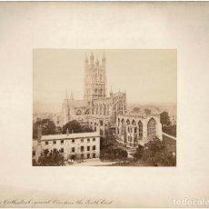 Fotografía antigua: ALBÚMINA.- VISTAS DE CATEDRAL DE GLOUCESTER.( REINO UNIDO ).- MEDIDAS CON PASPARTÚ A 30 X 38 CM. Lote 132923126