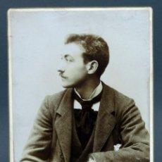Fotografía antigua: FOTOGRAFÍA RETRATO CABALLERO TRAJE CONSTANTINO J GRACIA ZARAGOZA HACIA 1900. Lote 137319110