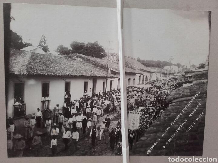 IMPORTANTE FOTOGRAFÍA HISTÓRICA. ENTRADA A JALAPA FUERZAS LIBERTADORAS, CORONEL ESTEBAN MÁRQUEZ. (Fotografía Antigua - Albúmina)