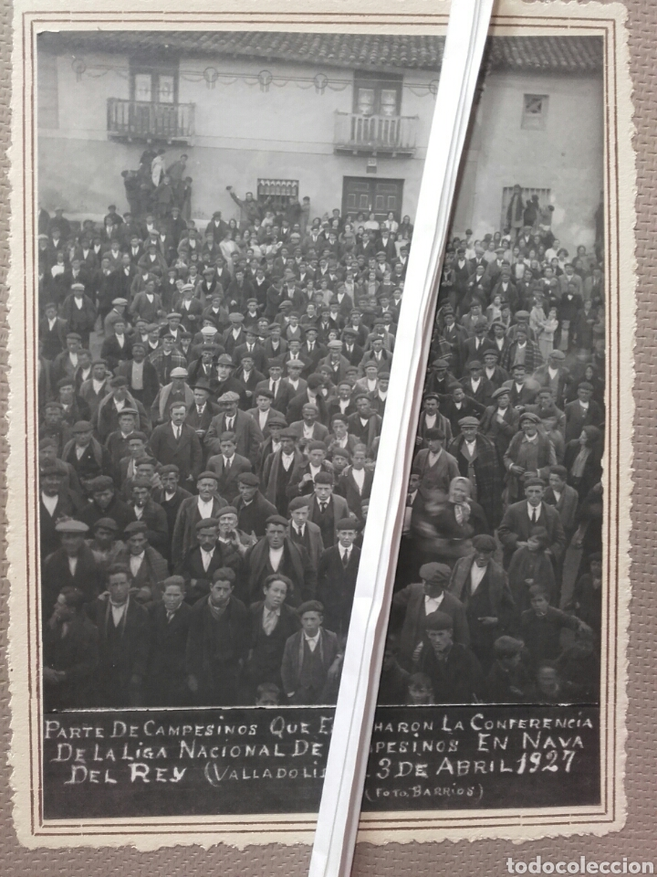 NAVA DEL REY. CONFERENCIA DE LA LIGA NACIONAL DE CAMPESINOS 1927 (Fotografía Antigua - Albúmina)