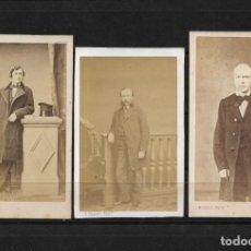Fotografía antigua: LOTE DE TRES FOTOGRAFIAS DE CABALLEROS DE EPOCA PARISINAS. Lote 138540818