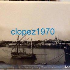 Fotografía antigua: SEVILLA, SIGLO XIX, ALBUMINA, RIO GUADALQUIVIR Y TORRE DEL ORO, FOT.LINARES,23X17 CMS. Lote 138600962