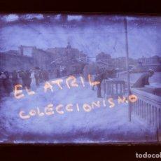 Fotografía antigua: GIJON, LA TERRAZA - CLICHE ORIGINAL - PLACA NEGATIVO EN CRISTAL - AÑOS 1920-1930. Lote 138936098