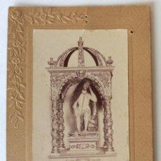 Fotografía antigua: IMPORTANTE FOTO ALBUMINA.SANTISIMO CRISTO DE LA HUMILDAD. MORAL DE CALATRAVA. CIUDAD REAL. . Lote 140574370