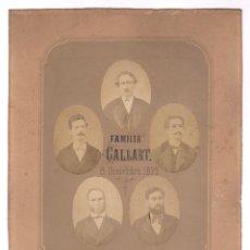 Fotografía antigua: FAMILIA GALLART, 8 DICIEMBRE 1873. 5 FOTOMONTAJES DE RETRATOS OVALADOS. SOPORTE: 22X27CM.. Lote 140725654