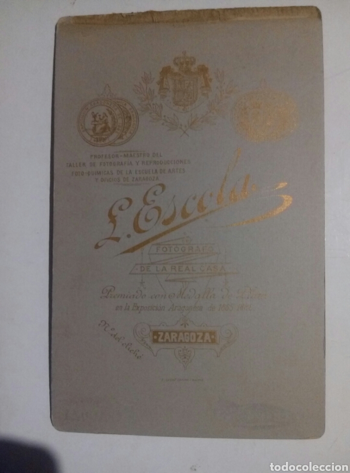 Fotografía antigua: L Escola Zaragoza s. XIX tarjeta visita - Foto 2 - 141611408