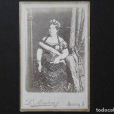 Fotografía antigua: ALBÚMINA DE ISABEL II REINA DE ESPAÑA. Lote 142011818