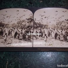 Fotografía antigua: FOTOGRAFIA ESTEREOSCOPICA.STEREOGRAFICA.NIÑOS Y PAJAROS.JAIPUR.INDIA.1903. Lote 146428746