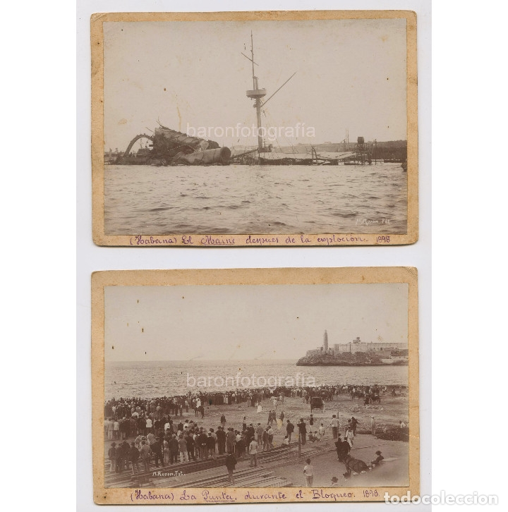 PUERTO DE LA HABANA, CUBA. HUNDIMIENTO DEL MAINE Y BLOQUEO. 1898. FOTO: MIQUEL RENOM (1875-1950) (Fotografía Antigua - Albúmina)