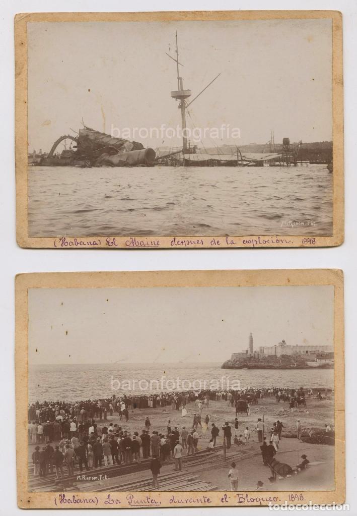 Fotografía antigua: Puerto de la Habana, Cuba. Hundimiento del Maine y bloqueo. 1898. Foto: Miquel Renom (1875-1950) - Foto 2 - 147208330
