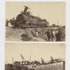 Fotografía antigua: ACCIDENTE DE FERROCARRIL EN RIUDECANYES, PROV. DE TARRAGONA, 2 FOTOGRAFÍAS DE BALLELL. 1900S APROX.. Lote 147716442
