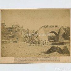Fotografía antigua: FERROCARRIL ACCIDENTADO EN L'AMETLLA, TARRAGONA, SETIEMBRE 1872. FOTO: MASDEU Y ORTIZ, TORTOSA.. Lote 147721854