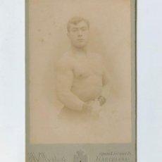 Fotografía antigua: RETRATO DE LUCHADOR, FOTO: MATEOS, BARCELONA. 1900'S. FOTO CABINET 10,6X17 CM.. Lote 147781126