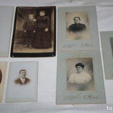 Fotografía antigua: LOTE DE 7 FOTOGRAFIAS ANTIGUAS DEL SIGLO XIX, NIÑO COMUNION, NIÑA, HOMBRES, MUJERES. Lote 147786314
