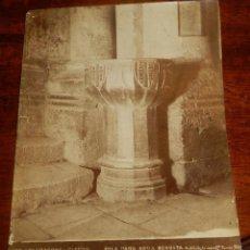 Fotografía antigua: ALBUMINA DE TARRAGONA, CATEDRALL, PILA PARA AGUA BENDITA, N. 87, FOTO TORRES, MIDE 22,5 X 17 CMS.. Lote 148429094