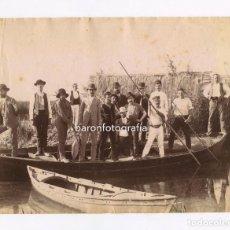 Fotografía antigua: VALENCIA, BARCA EN LA ALBUFERA, Nº409. 1880 APROX. FOTO: ANTONI ESPLUGAS. 21X16,5XM. . Lote 151851214