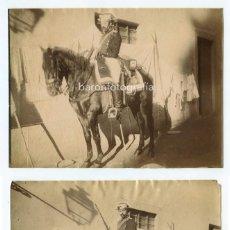 Fotografía antigua - RETRATO DE UN GUARDIA CIVIL A CABALLO, 2 FOTOGRAFÍAS DE ANTONI ESPLUGAS, 1870s aprox. - 153854926