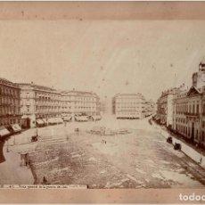 Fotografía antigua: ALBÚMINA DE LA PUERTA DEL SOL.(MADRID).- FOTOGRAFÍA J. LAURENT. MEDIDAS SOLO FOTO 34, X 24,5 CM. Lote 155356962