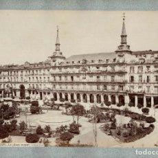 Fotografía antigua: ALBÚMINA MADRID.- PLAZA MAYOR.- FOTOGRAFÍA J. LAURENT. MEDIDAS SOLO FOTO 34 X 25,5CM. Lote 155383726