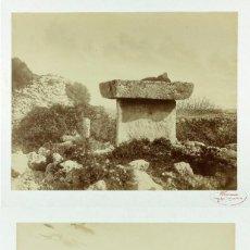 Fotografía antigua: MAHÓN, MENORCA, BALEARES. TAULA Y TALAIOT, 2 FOTOGRAFÍAS DE FEMENIAS, 1880 APROX.. Lote 155673470