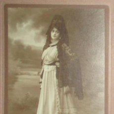 Fotografía antigua: FOTOGRAFÍA DE DAMA CON MANTILLA. FOTO COMPAÑY, MADRID, 1917.. Lote 155694794