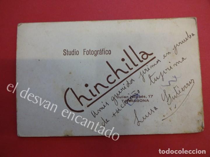 Fotografía antigua: Antigua foto albumina 14 x 9 ctms. Studio Fotográfico CHINCHILLA. Tarragona - Foto 2 - 155800602